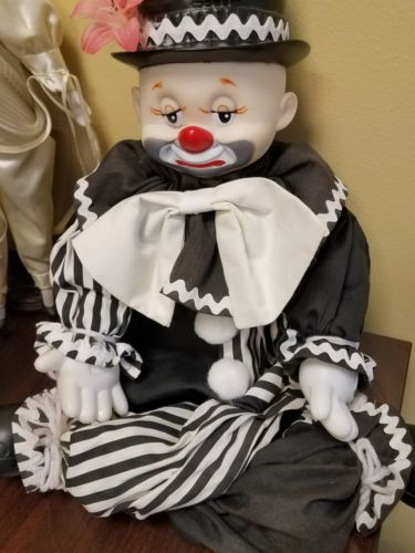 Expressive Clown Hobo Doll Smiles Frowns Happy Sad Cute Creepy Sits on Shelf 24