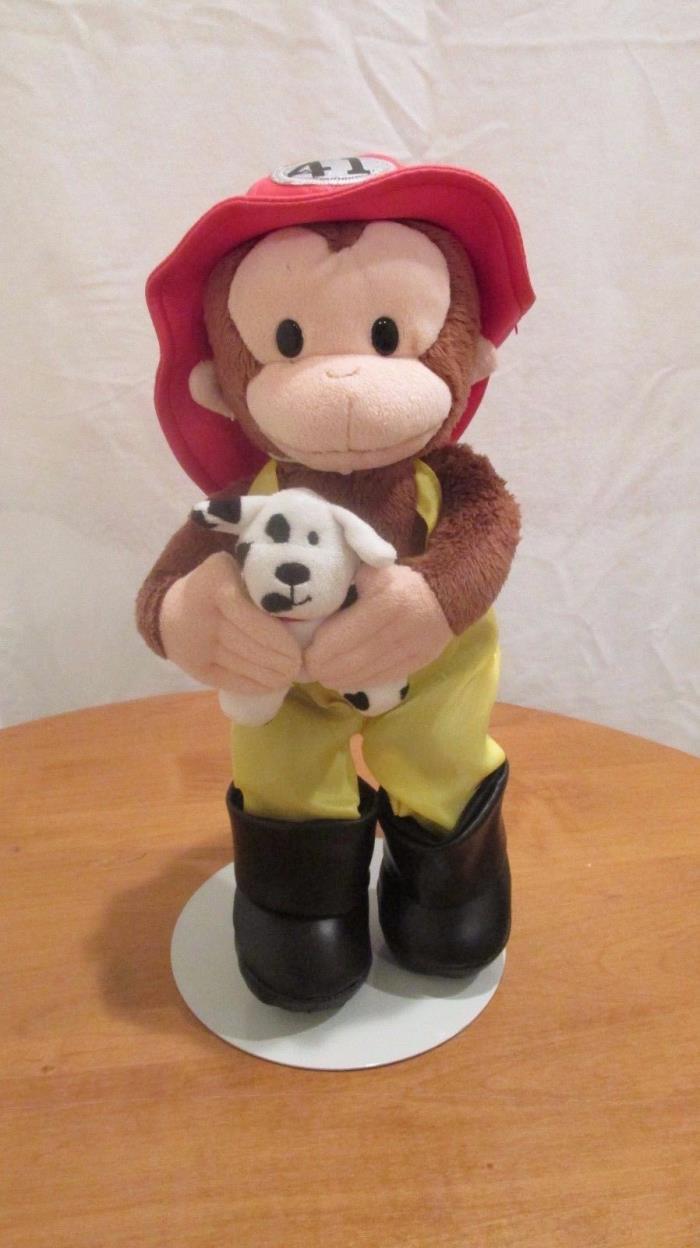 Curious George Doll Fireman Plush w/ Dalmatian Dog 13