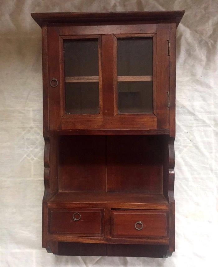 Antique Apothecary Medical Medicine or Kitchen Wall Cabinet with Drivers - Nice!