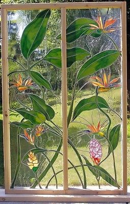 Bird of Paradise Flowers,Leaded Stained Glass for 2-Door Inserts Custom Avail.