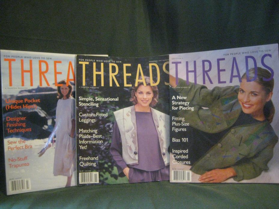 THREADS magazine vtg 97/98 back issue LOT V #71 73 76 couture sewing needlework
