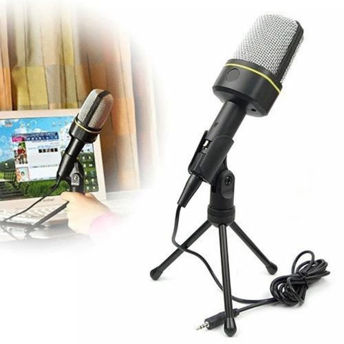 Mini 3.5mm Studio Speech Vocal Microphone MIC with Stand Mount for PC Laptop New