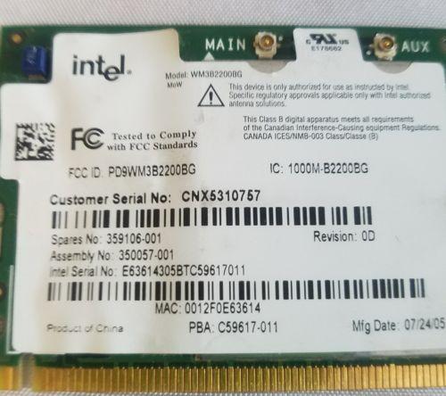 Intel wm3b220bg Wifi Wireless Adapter Card
