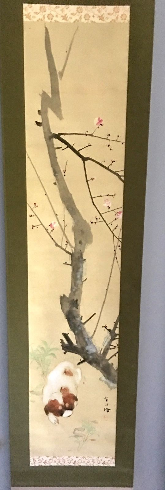 HAND-PAINTED WATERCOLOR PAINTING JAPANESE SCROLL SIGNED 7' PUPPIES CHERRY TREE