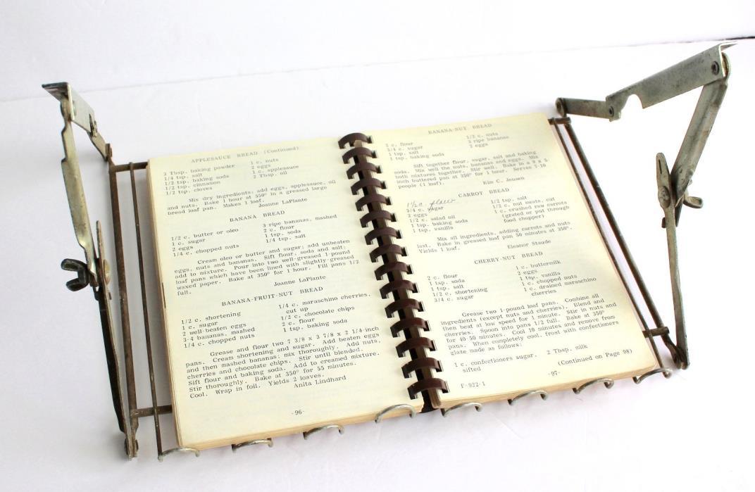 Vintage Cookbook Holder Under Cabinet Metal Distressed Kitchen Recipe Decor Rack