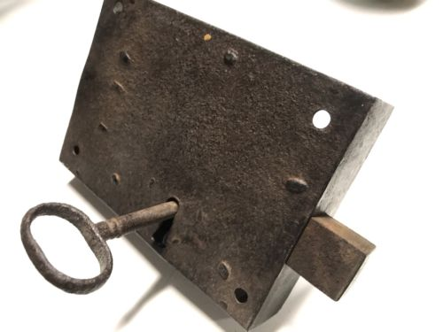 Antique Blacksmith Hand Forged Box Door Lock and Key
