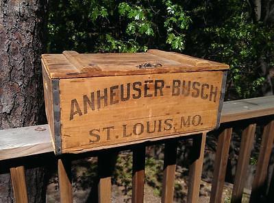 ORIGINAL VINTAGE 1918 ANHEUSER-BUSCH BEER WOODEN BOX CRATE for BOTTLES DISPLAY
