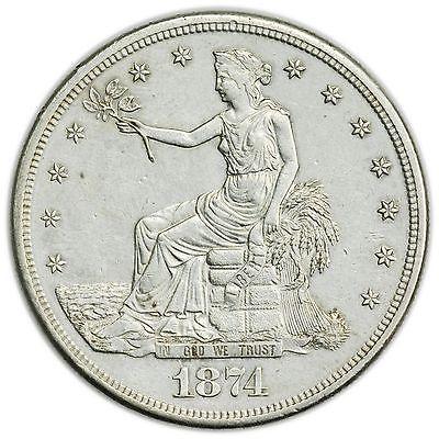 1874-S Trade Dollar, Large, Rare, Uncirculated Silver Coin [3127.104]
