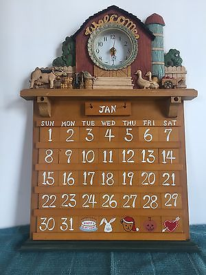 Perpetual Wooden Wall Calendar with Clock & Detailed Farm Decor Welcome