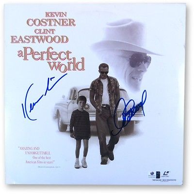 Kevin Costner Clint Eastwood Dual Signed Laserdisc Cover Perfect World GV865963
