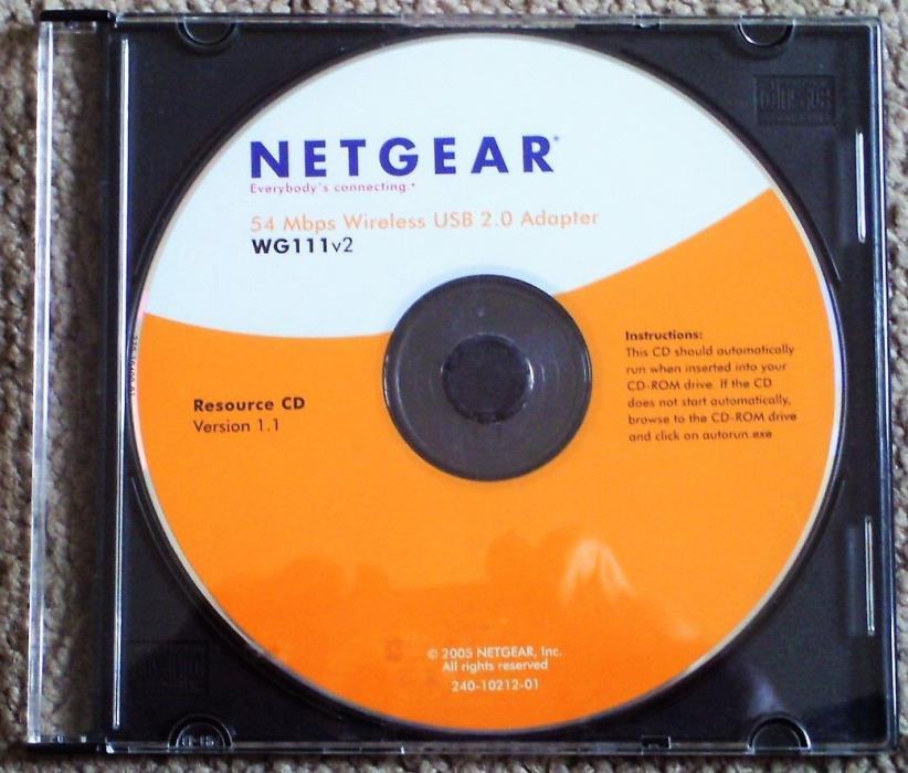 Netgear Resource CD, Version 1.1, 54 Mbps Wireless USB 2.0 Adapter, WG111v2