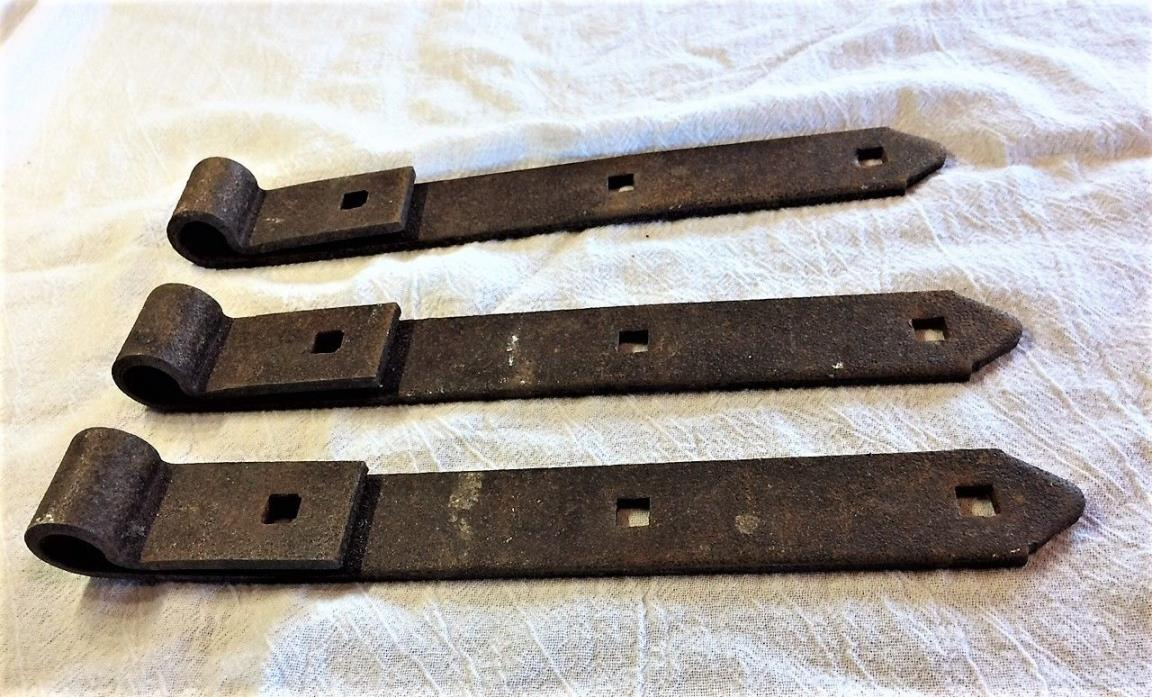 Beautiful Set of 3 Hinges Antique Strap Barn Door Hand Forged ~ 10