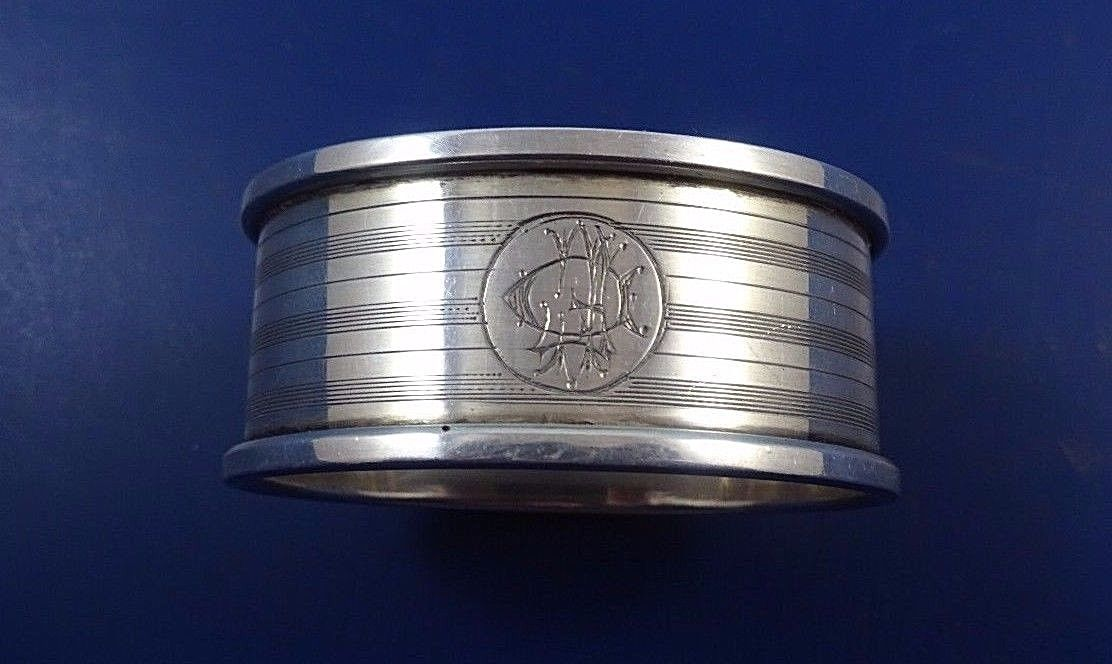 Oval English Deco Style Sterling Silver Napkin Ring made in Birmingham (#1651)