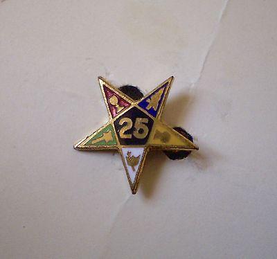 Vintage Eastern Star 25 Year Pin ~ Masonic Masons ~ Carded
