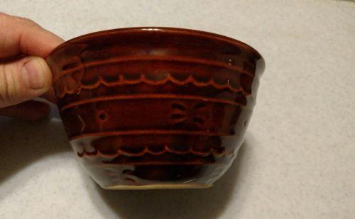 small brown crock bowl