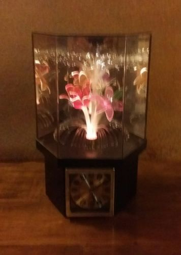 MID CENTURY  FIBER OPTIC LAMP WITH CLOCK & ROTATING FLORAL DISPLAY