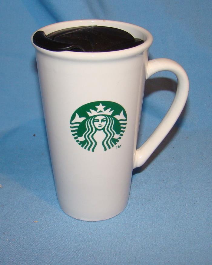 Starbucks 2012 Ceramic White Travel Tumbler Green Mermaid Logo Black Lid 12 oz