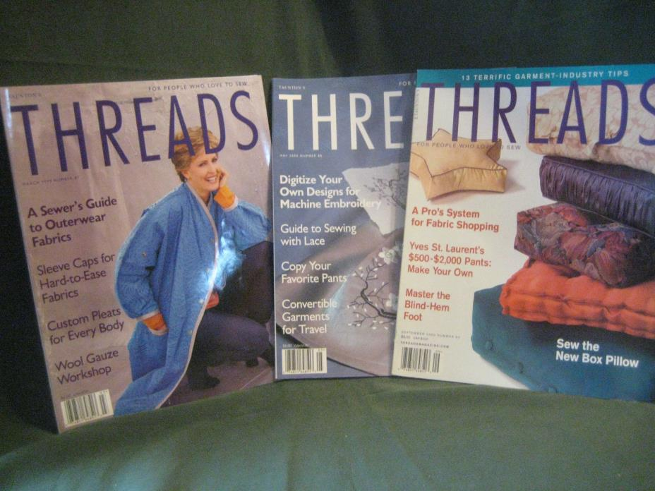 THREADS magazine vtg 99/00 back issue LOT W #81 88 90 couture sewing needlework