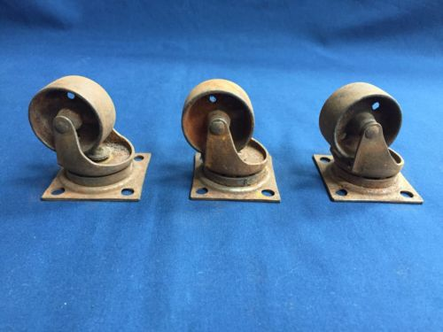 3 Vintage Swivel Metal Castors with Metal Wheels