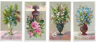 Victorian Lot of (4) Easter Greeting Cards - Various Vases & Colorful Flowers