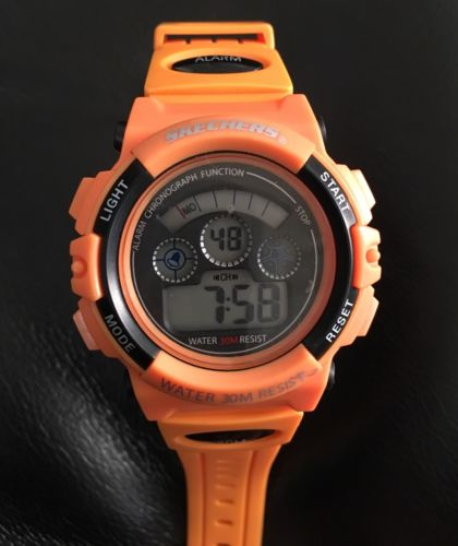 Skechers Men's STTMR-004 Digital Display  Orange And Black Watch