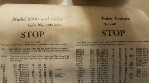 Test Data Supplement Hickok 538 Tube Tester /& VOM Operators Manual