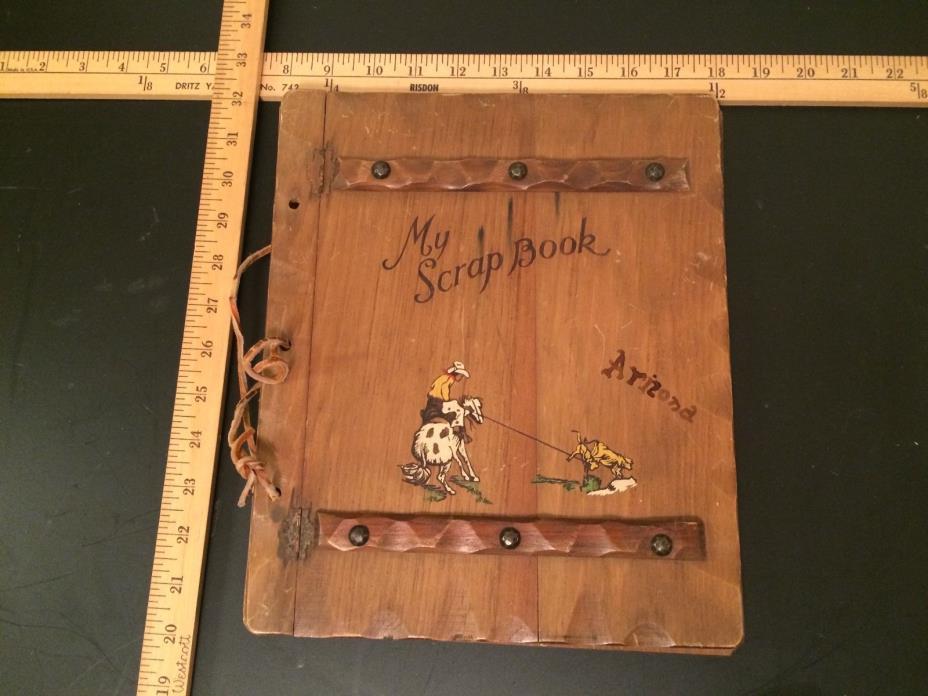 Vintage Folk Art Photo Arizona Album Scrap Book Wooden Covers Hand Crafted