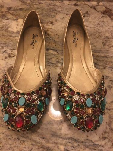 Brand New Kundan Khussas Good Quality NEW Stones Pakistani Shoes Size 7