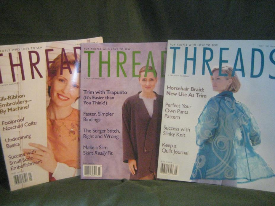 THREADS magazine vtg 1997 back issue LOT U #68 69 70 couture sewing needlework
