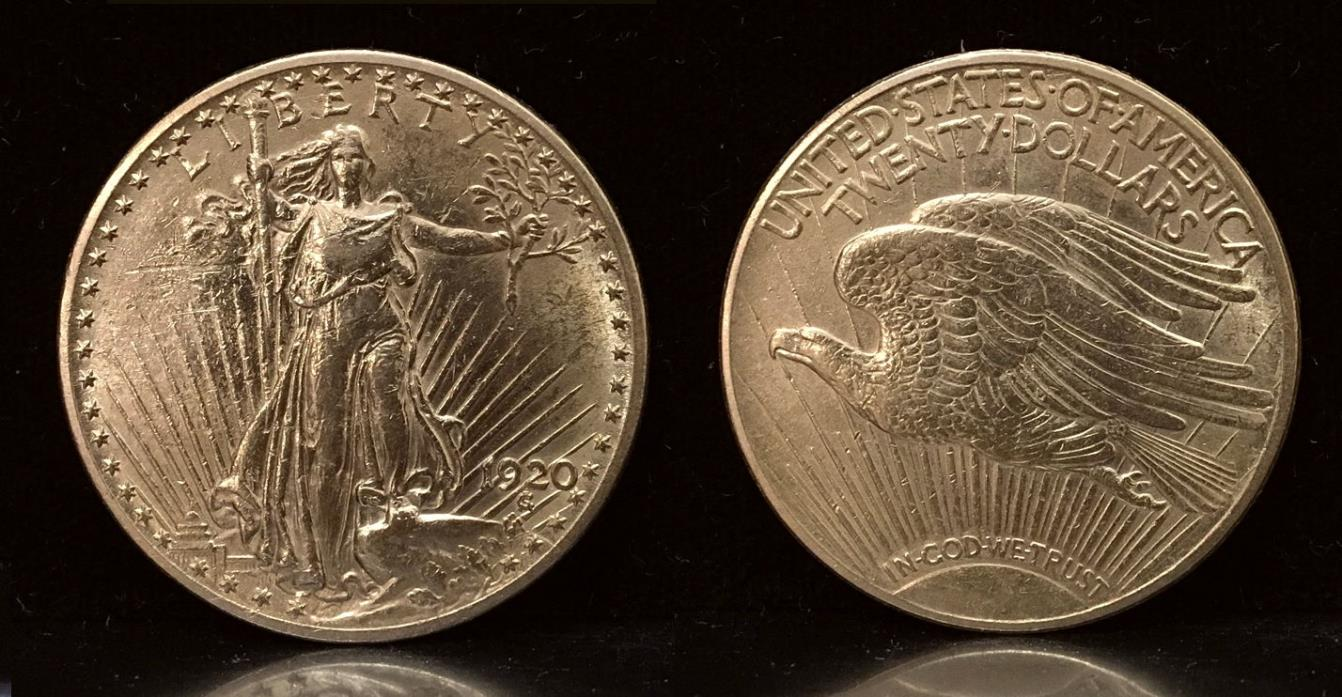 1920 SAINT GAUDENS TWENTY DOLLAR GOLD COIN--AN ATTRACTIVE OLD CIRCULATED CLASSIC