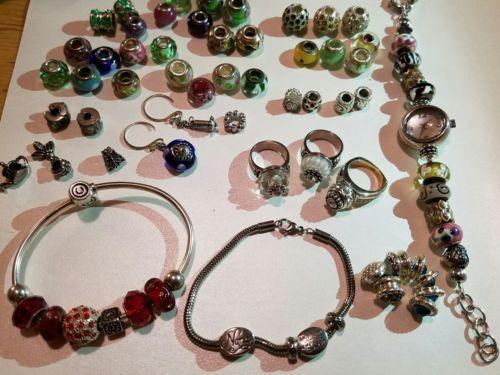 Large lot 925 Pandora Chamilia Cham signed charm bracelets watch rings unique
