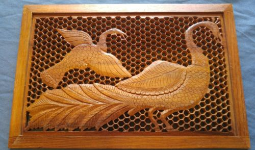 India wood wooden carved peacock honeycomb wall hang art frame