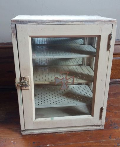 ANTIQUE VTG APOTHECARY MEDICAL DENTAL BARBER GLASS INSTRUMENT SUPPLY CABINET