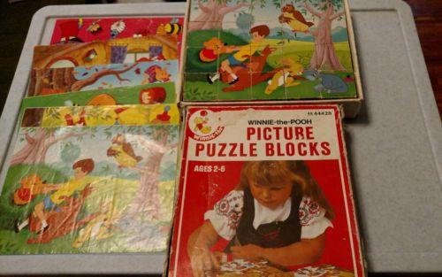 Vintage Winnie -the-Pooh Picture Puzzle Wood Blocks #49-44428
