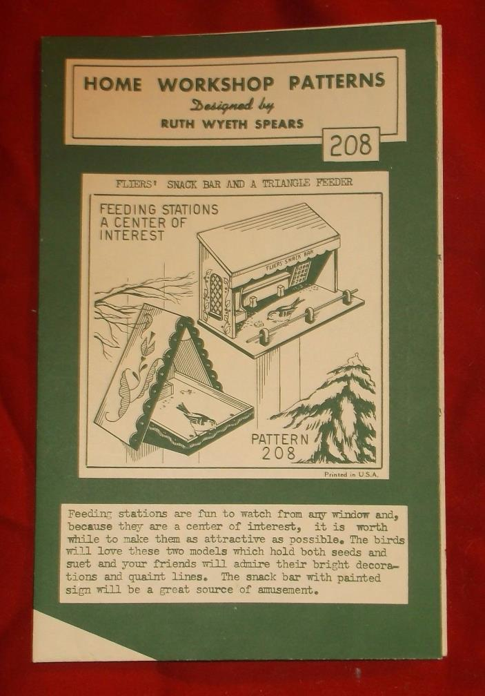 Vintage Home Workshop Pattern 208 - Fliers Snack Bar Triangle Feeder - Birds