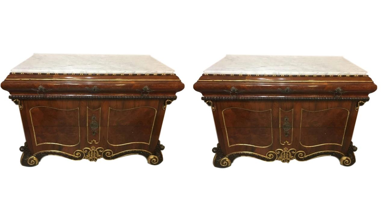 Pair of 19th Century Continental Marble-Top Commode or Chests(101-NM16)
