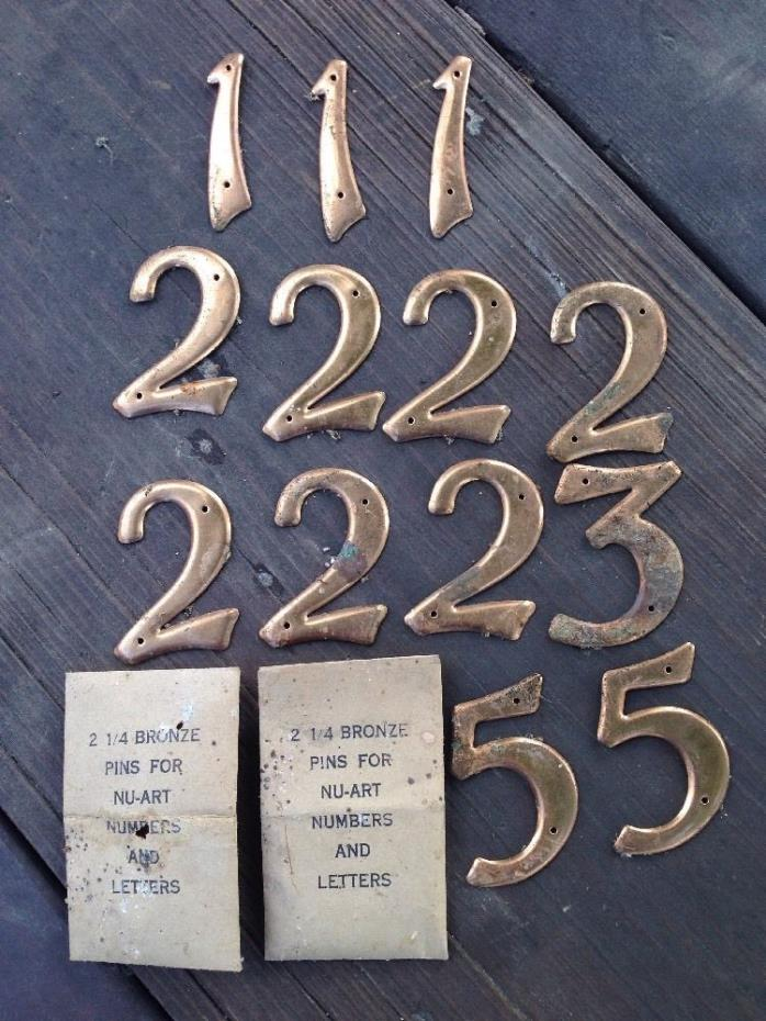 NU-ART Bronze 13 Numbers & Pins 1,2,3,5 House Address Mid Century Modern