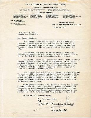 George Wickersham- Signed letter from 1921