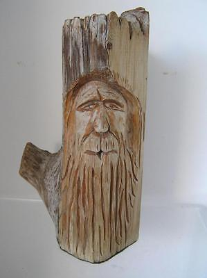 Vintage Wood carved Tree Trunk Hand Carved Tree Old Man Santa Wizard Face