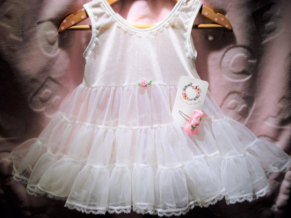 NWT Infant Girls Size 6 Months Full Slip Petticoat Crinoline and Hairbow