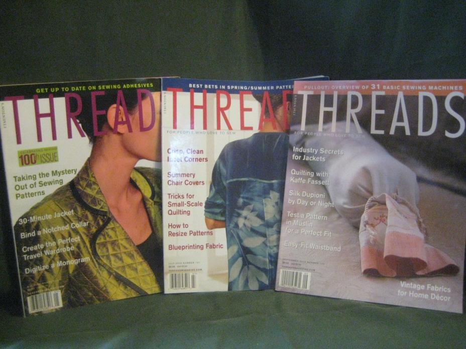 THREADS magazine 2002 back issue LOT X #100 101 102 couture sewing needlework