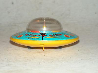 Vtg Flying Saucer Spaceship Friction Toy V-15 Tin/Plastic friction Japan Rare