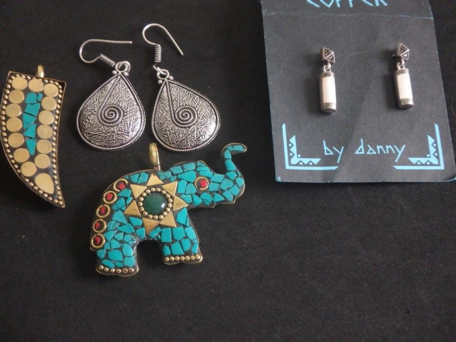 Lot of 4 jewelry items/brass, sterling, MOP, Turquoise, Stainless ,  Elephant