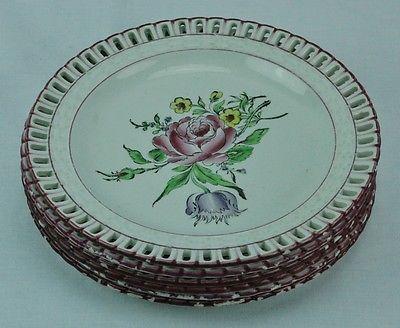 "Set of 6 Luneville K&G reticulated plates 8 ½"" diameter. Marked.  (BI#MK/0417)"