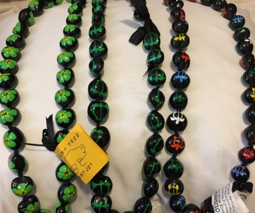 Lot Of 10 Mixed Colored Hawaii Wedding / Kukui Nut Lei Necklace