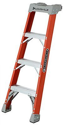 Louisville Ladder FH1504 Fiberglass Pro Shelf Ladder, Type IA, 300-Pound Load