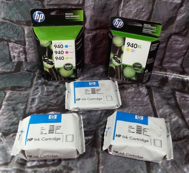 HP 940 Ink lot of 5 cartridges NEW 940XL  (2)Black (3)Yellow (1)Cyan (1)Magenta
