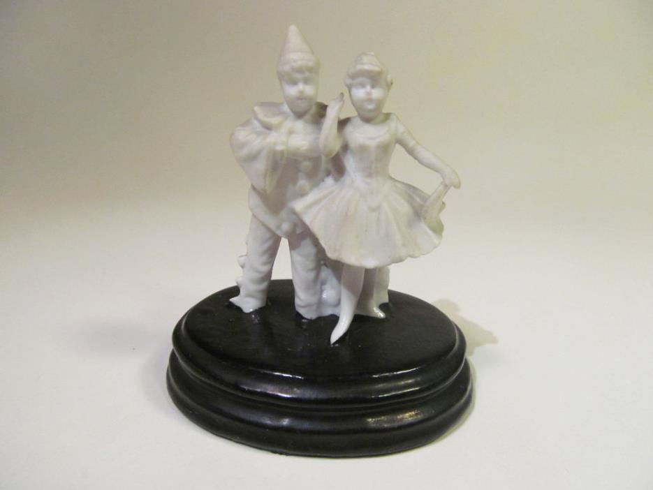 *Vintage Bisque Miniature Harlequin Couple Dancing Courting Unusual Black Base