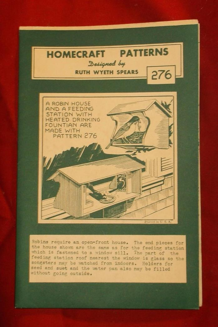 Vintage Home Workshop Pattern 276 - Robin House Feeding Station Fountain - Birds