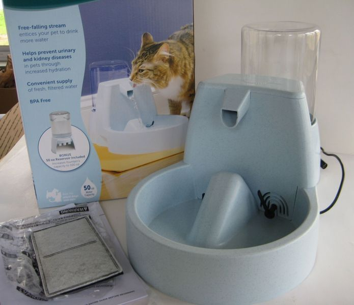 PetSafe Drinkwell Water Fountain for Pets, Bonus 50 oz Reservoir, BPA-Free Dish
